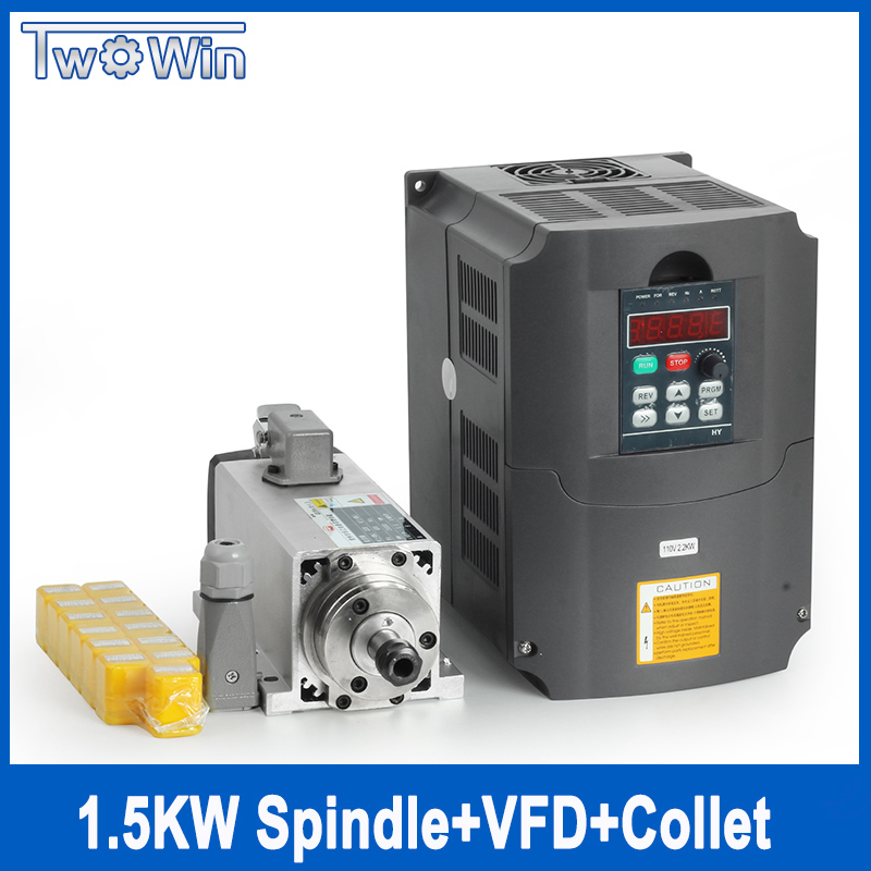 цена на Twowin Square Spindle 1.5kw Air Cooled Spindle Motor cnc Spindle Motor + 220V/1.5KW Inverter + 1-7mm ER11 Milling Machine