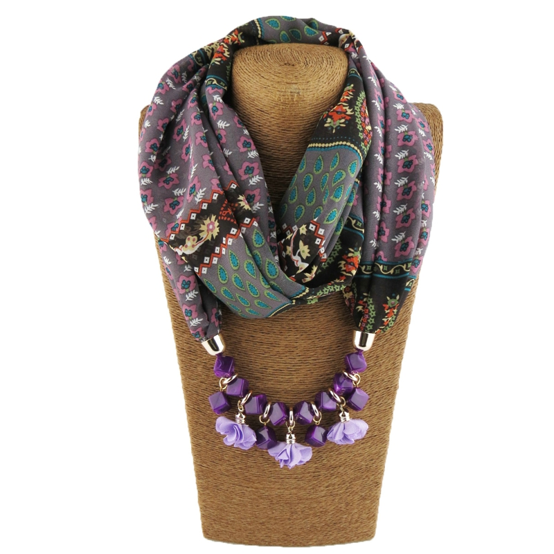 Mantieqingway Women Printed Chiffon Scarf Solid Pendant Neck Scarf Brand Resin Cloth Floral Necklace Shawl Scarf Warm Scarves