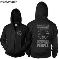 New Master Swordsman Anarchist V For Vendetta Zip Up Hoodie Sweatshirt Computer Hacker Guy Fawkes Mask