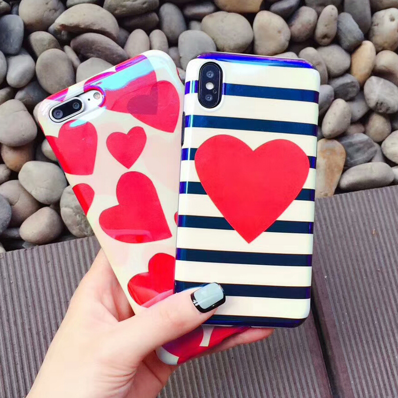 BROTOLA Lovely Heart Stripe Phone Case For iphone 7 6s 6 8 Plus Case For iphone X Fashion Glossy Blue Light Case Back Cover Capa