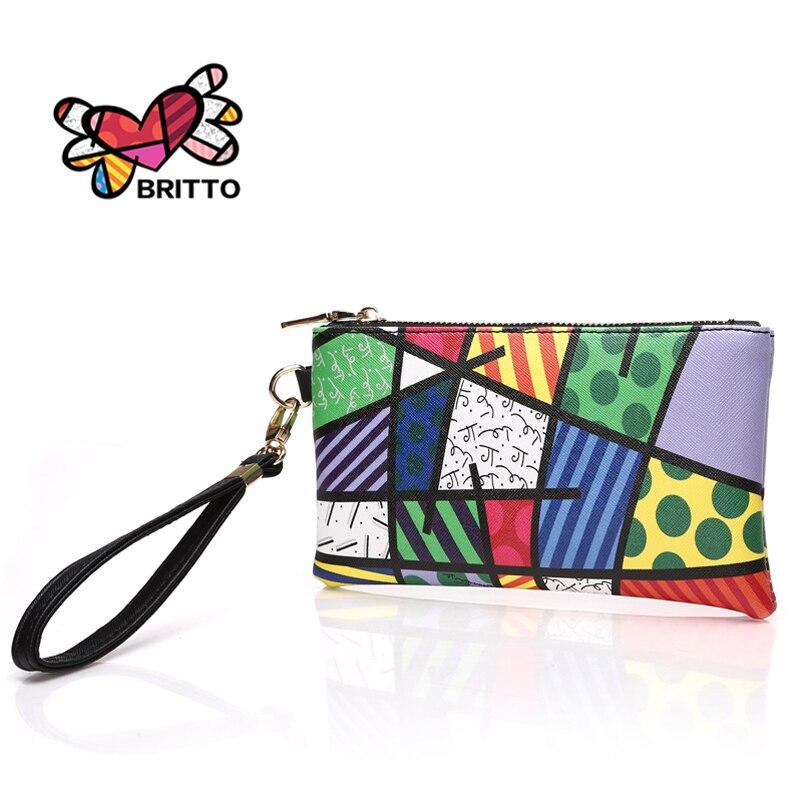 FEELINGBAGS Store ROMERO BRITTO Hot Sales PU Coin Wallet For Girls Coin Pouch Key Holder Brief Colored Graffiti Cute Money Zipper Bag