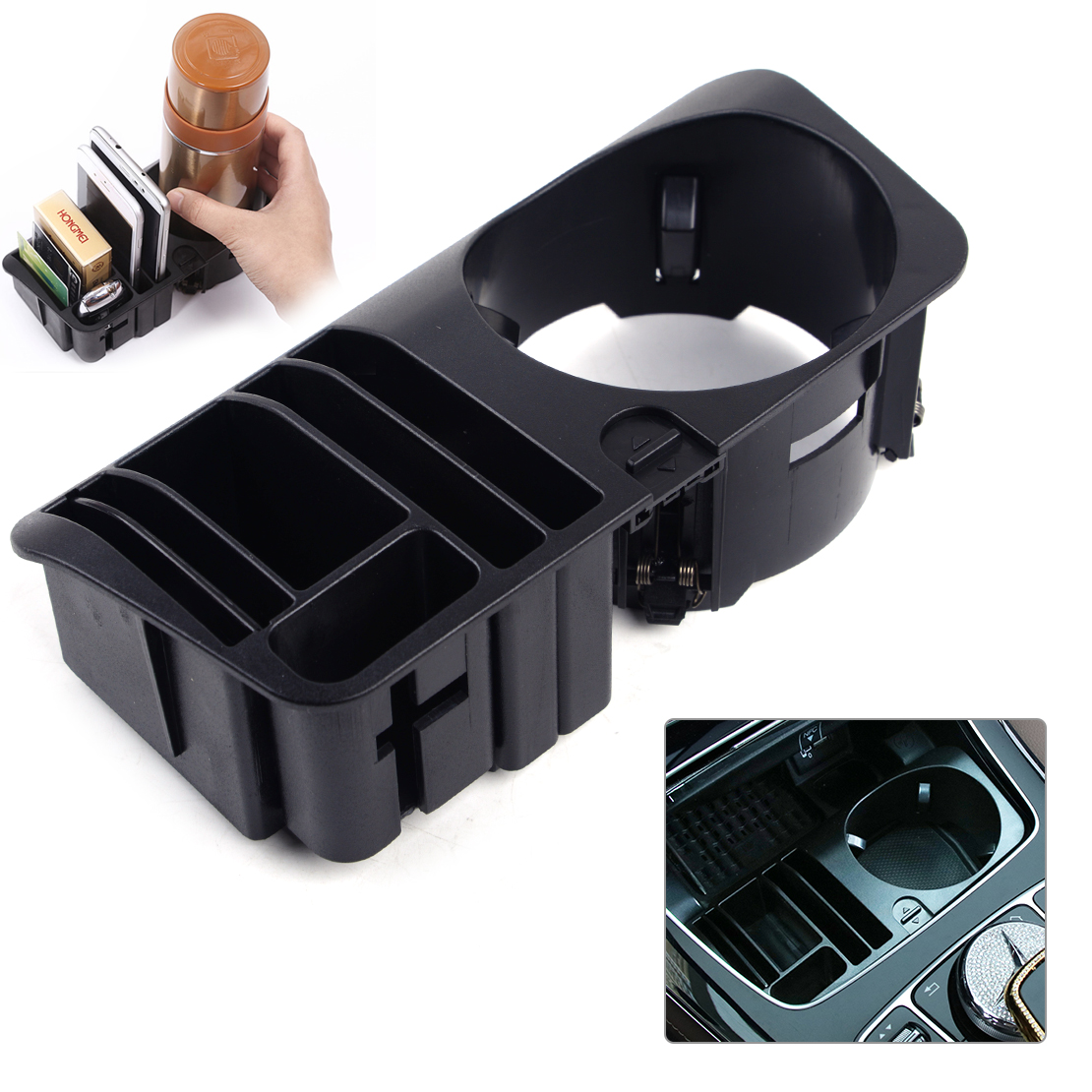 CITALL High Quality Car Central Storage Box Case Cup Holder Fit For Mercedes Benz C E GLC Class 2016 2017