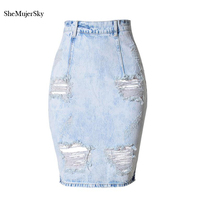 Women Pencil Denim Skirt 2017 Fashion Hole Jeans Skirts Womens Jupe Femme