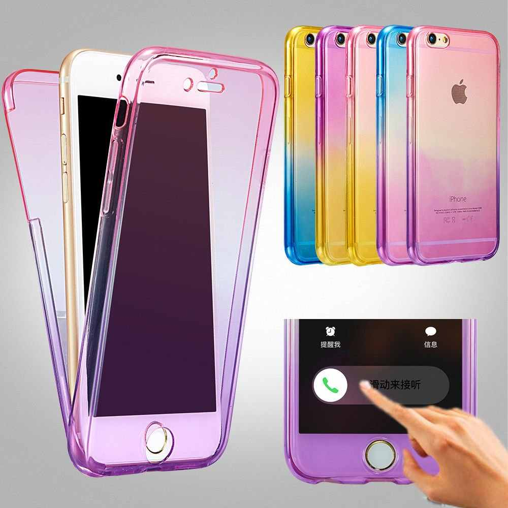 Hybrid Color Rainbow 360 Degree Soft TPU Phone Cases On For iphone 7 SE 5 5s 6 6s 8 Plus Front + Back 2 in 1 Rubber Cover Bag