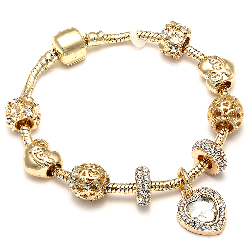 Luxury Gold Color Crystal Love Heart Charm Pandora Bracelets & Bangles Gold Chain Bracelets For Women DIY Jewelry Gifts