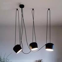 Nordic Drum żyrandol czarny/biały DIY regulowany sufitowy zawieszenie oprawa oświetleniowa aluminiowy bęben abażur czarny żyrandol w Żyrandole od Lampy i oświetlenie na