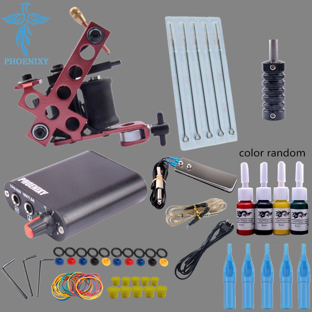 Completed Tattoo Kit 4 Colors Tattoo Ink Sets Machines Set Needles Permanent Make Up Professional Tattoo Kit Set 9656 early simple machines set