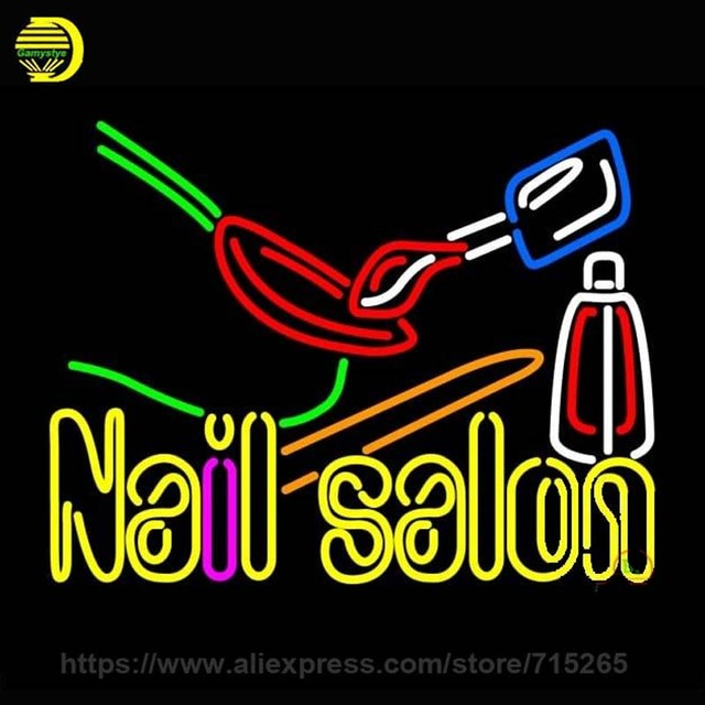 Neon Sign Nail Salon Logo Neon Bulb Sign Handcrafted Beer Pub Sign ...
