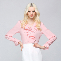 Runway Puff Sleeves Blouse V Neck Ruffles Hem Solid 2 Colors Office Work Tops Elegant Style