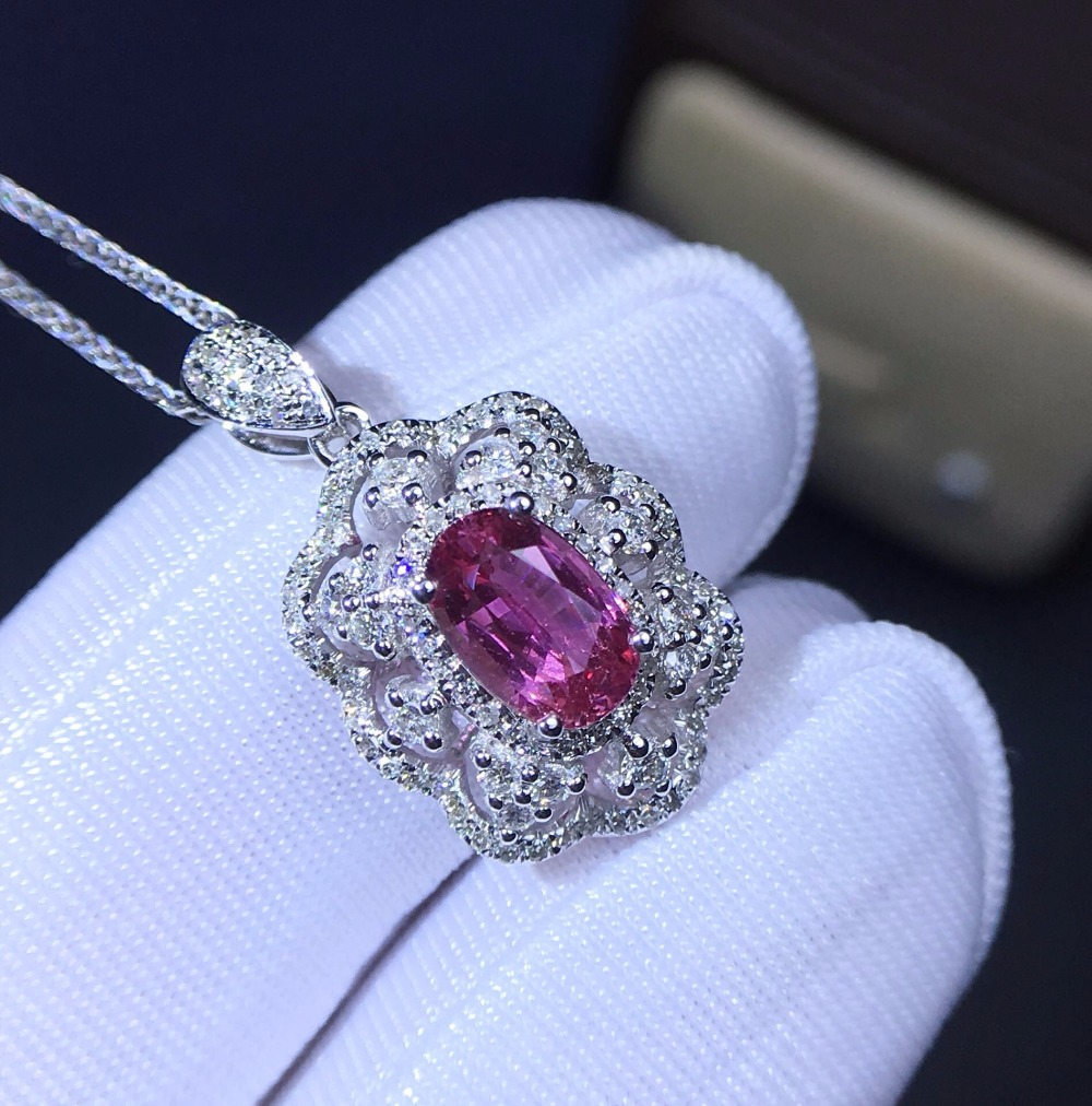 Fine Jewelry Collection Necklace Real 18K White Gold AU750 100% Natural Pink Sapphire Gemstones Pendants for Women Fine NecklaceFine Jewelry Collection Necklace Real 18K White Gold AU750 100% Natural Pink Sapphire Gemstones Pendants for Women Fine Necklace