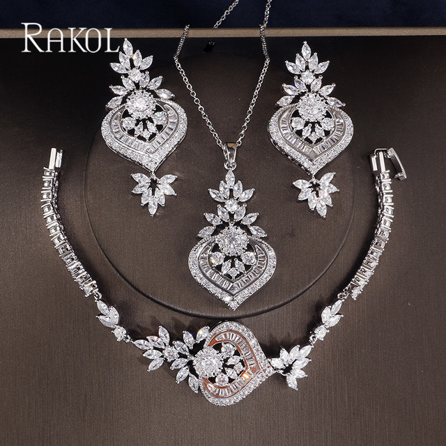 3ac28a054 RAKOL Exclusive Dubai White Color Jewelry Luxury Cubic Zirconia Necklace  Earring Bracelet Party Jewelry Set For Women