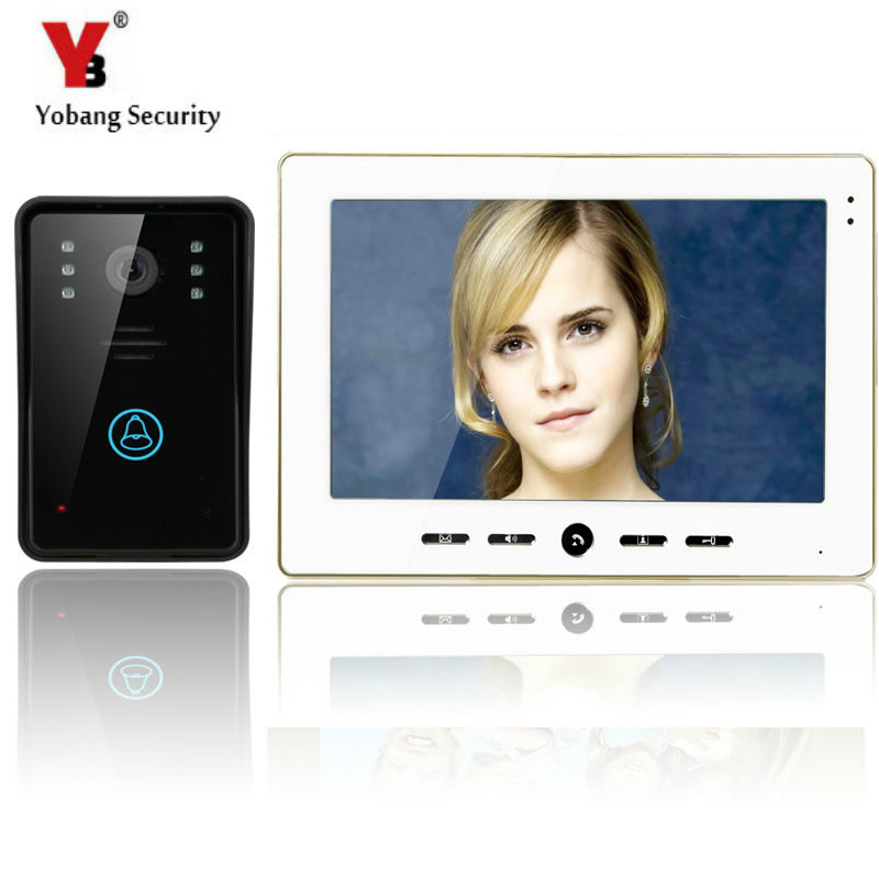 YobangSecurity Video Doorbell 10'' Color Video Door Phone Intercom Doorbell Unlock Indoor Monitor Rainproof Night Vision Camera