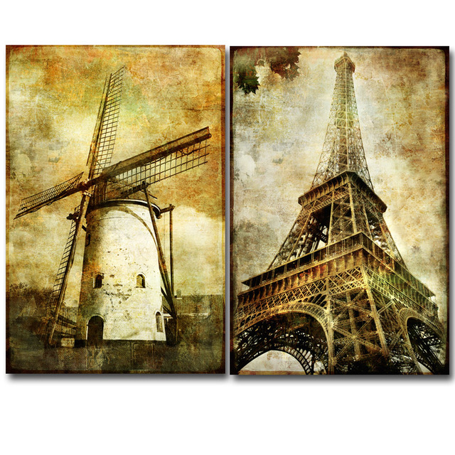 Wall Art Pictures European Style Building Oil Painting Printed On ...