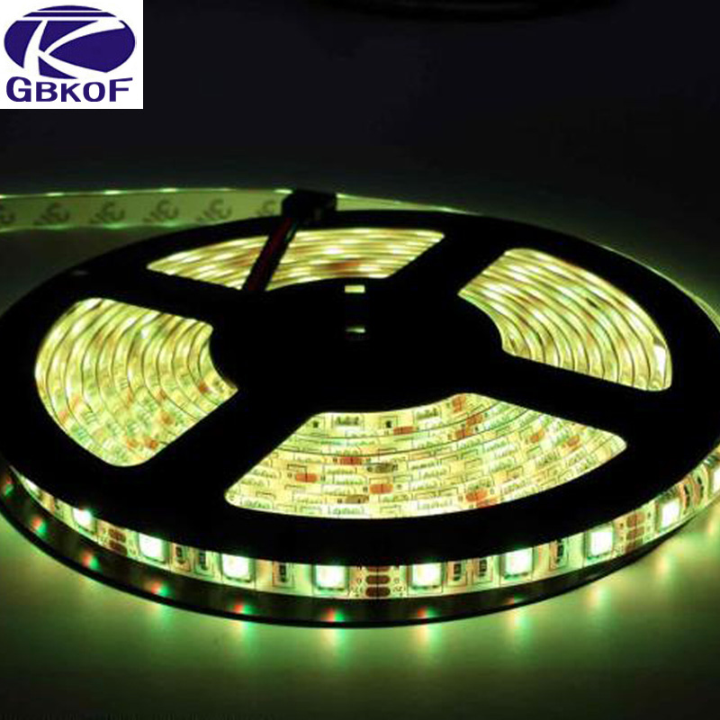 DC12V IP65 Waterproof Flexible Light LED Strip 5050 RGB color 60LED/m 5m led tape ribbon with remote control and power adapter