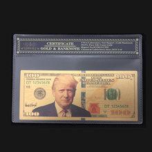Schöne Produkte Für Amerika Trump Banknoten 100 Dollar Banknoten in 24 Karat Gold Papier Geld Mit Kunststoffrahmen Für Sammlung