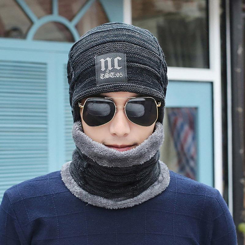 Men Winter Knitted Hat Scarf Set Male Plus Velvet Warm Thick Outdoor Riding Beanies Scarves Kit Knit Cap Female