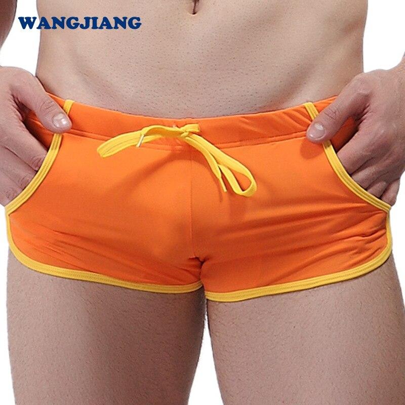 Сексуальное нижнее белье бикини мужские трусы нейлоновые трусы-боксеры пляжная одежда для мужчин доска пляжный купальный костюм Мужская ванна бассейн Одежда карман YK13 - Цвет: Оранжевый