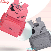 Genuine Disney Extra larg Capacity USB Oxford Cloth Insulation Bags Bottle Feeding Storage Bag Waterproof Diaper Bags Gules Bags