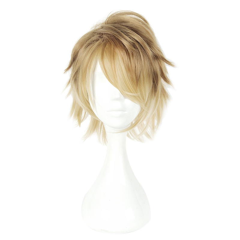 MCOSER 30 CM Short Synthetic 100% High Temperature Fiber Yellow Mix Color Heat Resistent Wigs WIG-658F