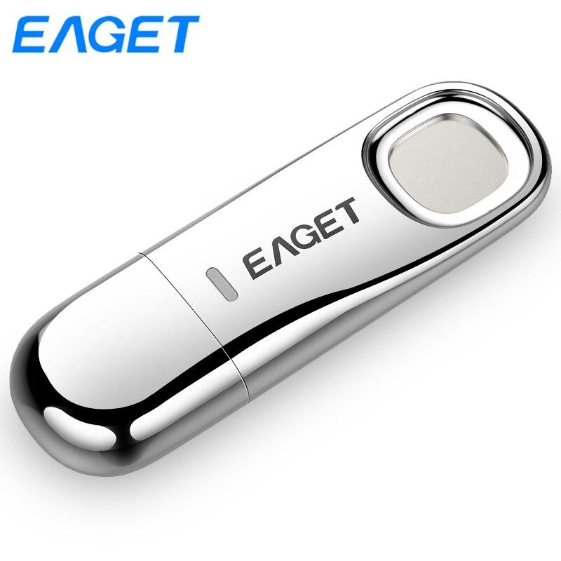 Eaget FU60 USB Flash Drive 32GB 64GB USB Key Pen drive 64GB Fingerprint Encryption Metal Pendrive