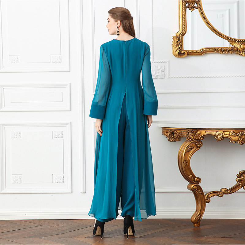 4c977eb91d8 Aliexpress.com   Buy VOA Heavy Silk Plus Size Women Sweet Cute Jumpsuit  Flare Long Sleeve Cyan False Two Set Casual Wide Leg Jumpsuits Spring K366  from ...