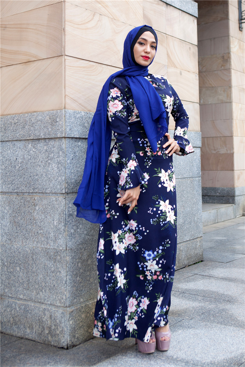 Casual Floral flowers Printed Robes Muslim Dress