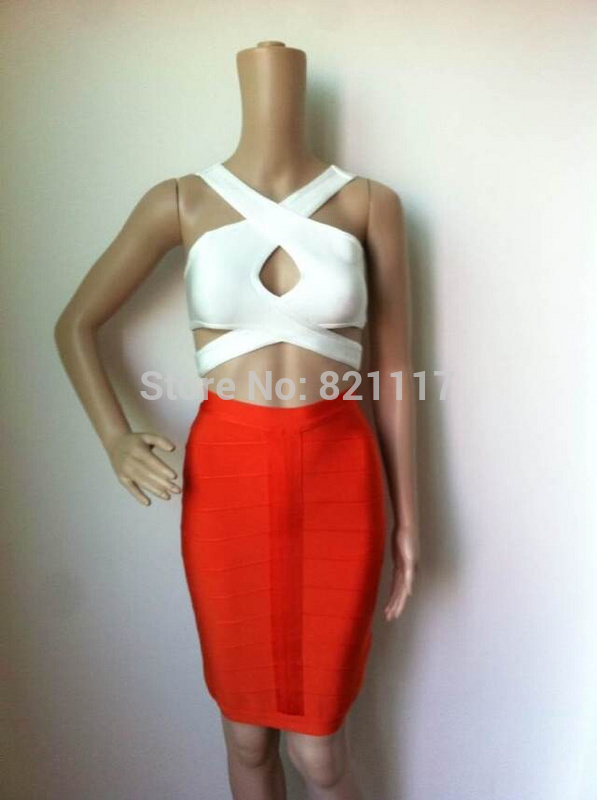 celebrities Store High Quality New White Yellow 2 piece Keyhole Bandage Dress Evening Party Sexy Dress
