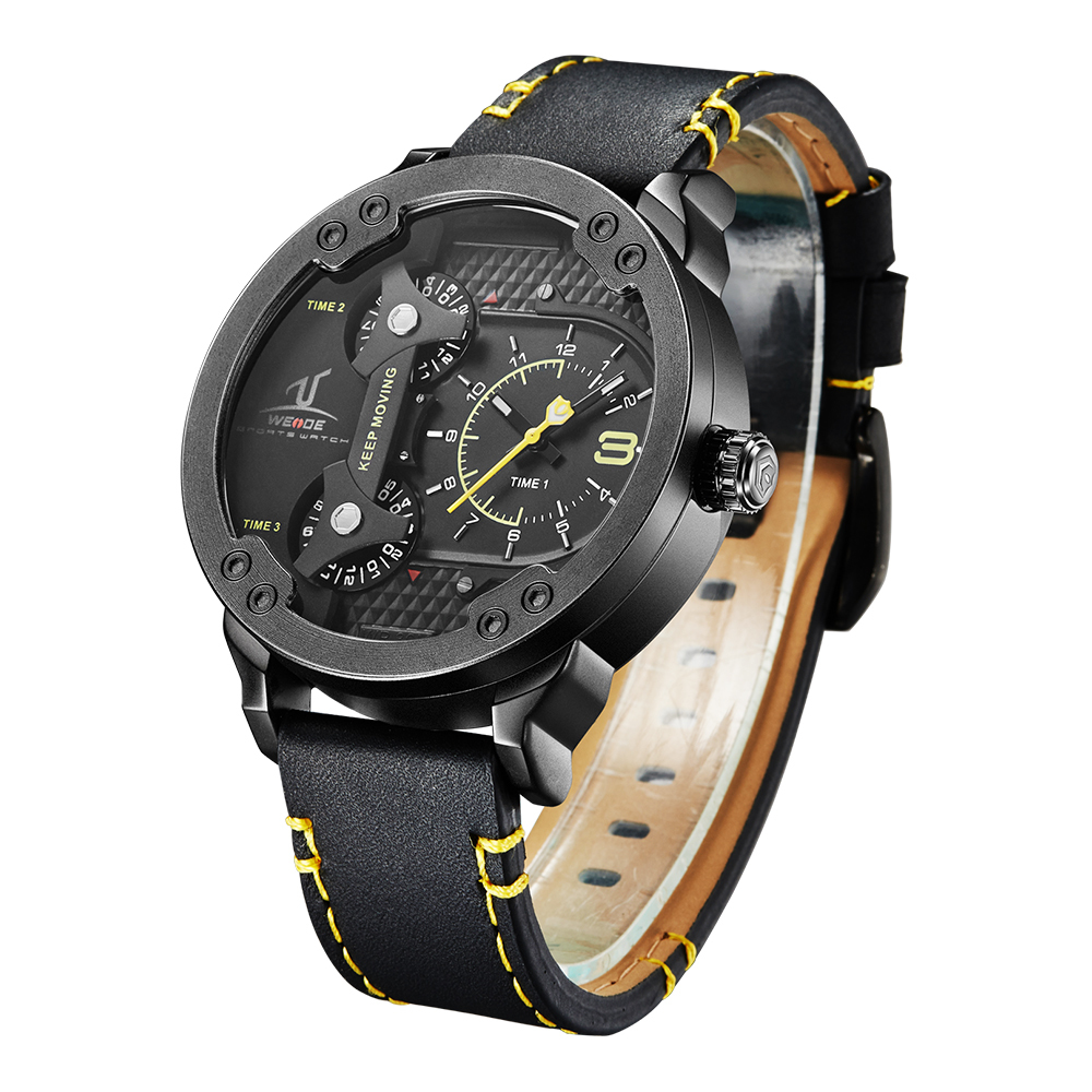 Men Sports Watches Montre Homme Military Wristwatch Leather Strap 2017 New Weide Multi Time Male Clock Casual Relogio Masculino ezon radio wave calibrate time digital men sports watch outdoor casual running swimming waterproof 50m wristwatch montre homme
