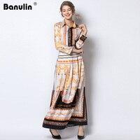 Banulin Spring Autumn Vintage Print Maxi Dress Women Runway Dresses 2019 Vestidos De Fiesta Long Sleeve Slim Long Pleated Dress