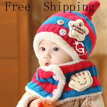 2016 New Children Scarf Knitted Winter Hat Baby Hat Ear Cap Baby Bib Suitable Suit Baby 6-48 Months Free Shipping