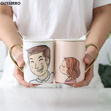 OUSSIRRO Ceramic Mugs With lid Couple Lover's Gift Morning Mug Milk Coffee Tea Breakfast Creative Cup homie creative ceramic mug with cup lid coffee cup piano musical note coffee mugs tea cup porcelain travel cup for milk mug