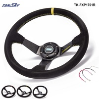 Car Aluminum 350mm Universal 3 5 Deep Dish Drift Racing Steering Wheels With Horn Button TK