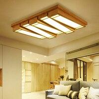 Luzes LED de Teto em estilo japonês de madeira retangular criativo sala de estar atmosfera lâmpada de piano chave breve Nórdico moderno ZH MZ37