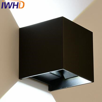 IWHD Iron Black White Scoce Wall Lights Modern Led Wall Light Up Down Home Lighting Fixtures Bedroom Stair Cube Wandlamp