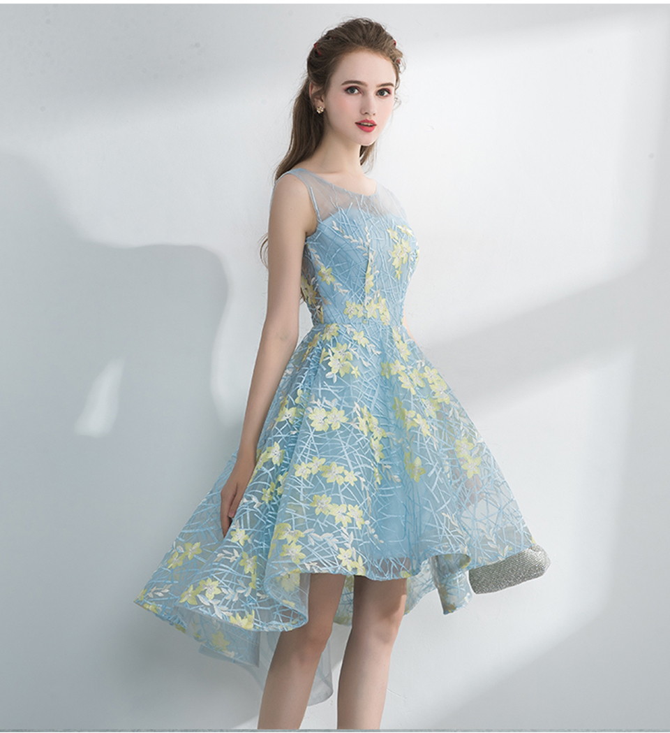 Contrast Color Embroidery Short Front Long Back Prom Dress -6886