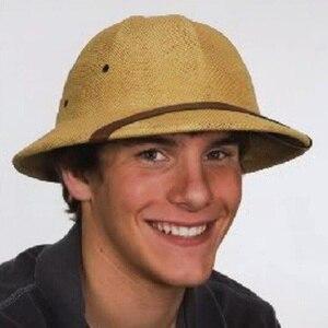 Image 2 - 2019 Unisex Novelty Toquilla Straw Sun Hats for Men Vietnam War Army Hat  Helmet Pith Dad Boater Bucket Hats Summer