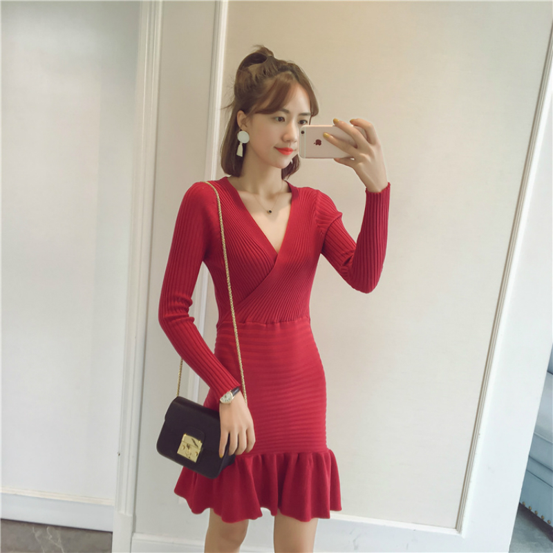 New Spring Women Sexy Knitted Cotton Low Cut V-neck Slim Dress Ladies Fashion Bodycon Ruffles Fit Striped Dress new 2017 hats for women mix color cotton unisex men winter women fashion hip hop knitted warm hat female beanies cap6a03