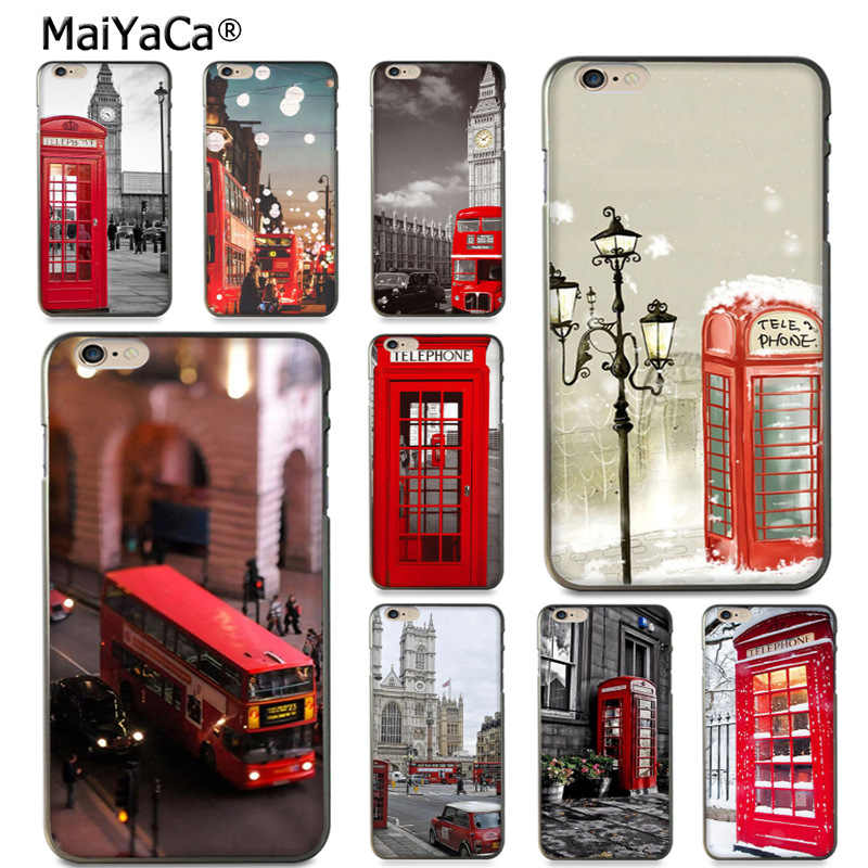 MaiYaCa style london bus england telephone vintage british Cute Phone Case for iPhone 8 7 6 6S Plus X 10 5S SE 5C case Coque
