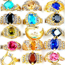 Wholesale 20Pcs/lot Colorful Rhinestone Cubic Zircon Gold Plated Wedding Rings Women Crystal Charm Jewelry
