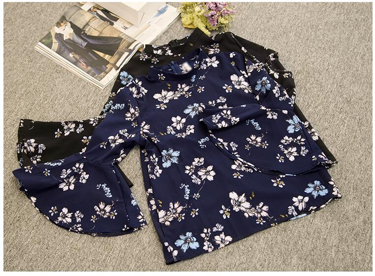 2016 jesień kwiatowy flare rękawem koszula szyfonowa bluzka kobiet topy kobiety biuro panie bluzka koreański fashion blusas chemise femme 10