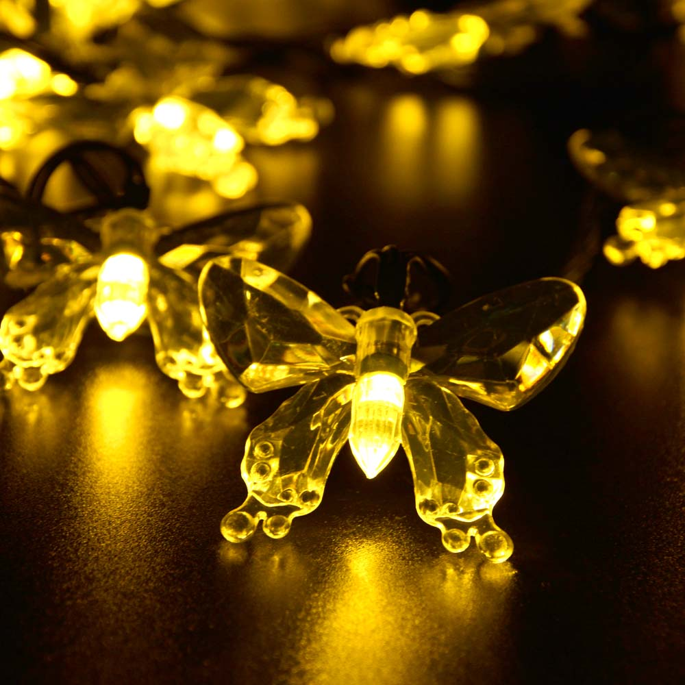 Christmas Lights Outdoor 7.5M 40 LED Led Strip Solar Powered Fairy Lights  Butterfly Garland Light Holiday Decoration Garden Lamp In Solar Lamps From  Lights ...