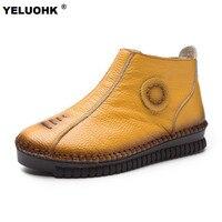 新しい女性の冬のブーツ快適さの毛皮アンクルブーツ用女性フラットシューズ暖かい雪のブーツ女性の靴防水大サイズ42