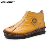 Neue Frauen Winter Stiefel Komfort Fell Stiefeletten Für Frauen flache Schuhe Warmer Schnee Stiefel Damen Schuhe Wasserdicht Große Größe 42