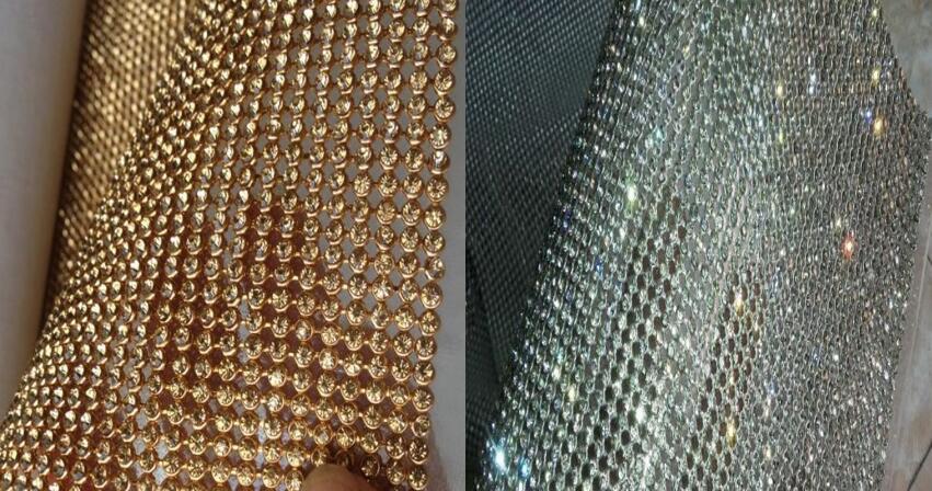 New Golden Silver Bling Bling Full Rhinestone Metal Mesh Fabric Metallic Cloth Metal Sequin