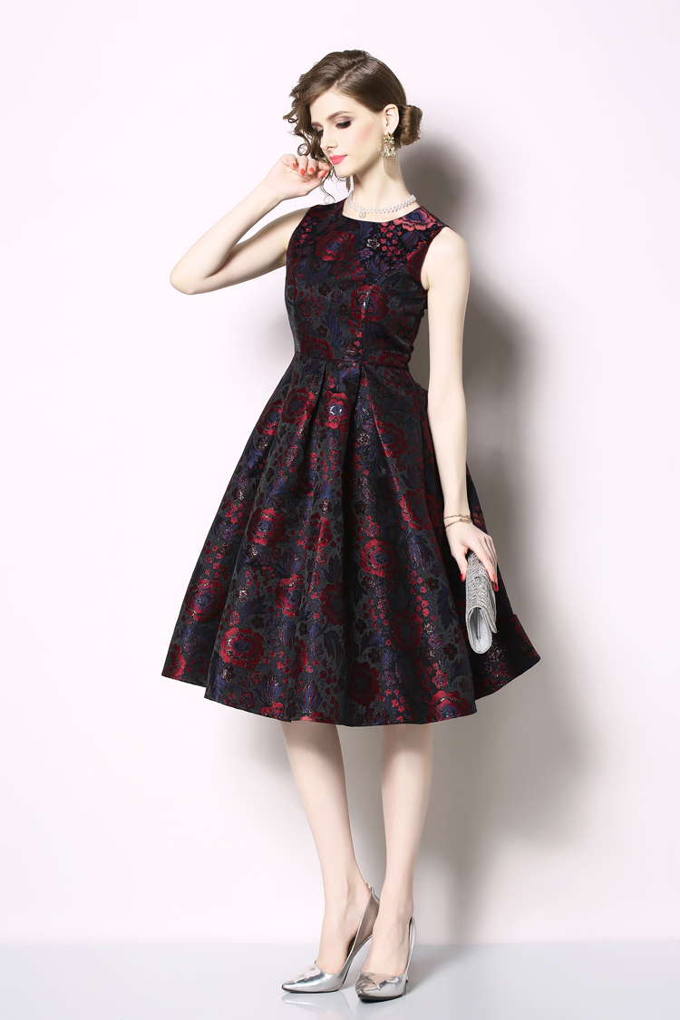 Elegant Sleeveless Printed Vintage Swing Dress 20