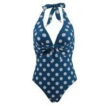 купить Plus Size 3XL Swimwear One Piece Women Swimsuit 2019 Solid Blue Dot Bathing Suits Sexy Bodysuit Swimming Suit Monokini Bikinis по цене 1089.6 рублей