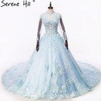 Sexy Blue Cut Back Long Sleeve Ball Gown Wedding Dresses 2018 Sheer High Neck Pearls Flowers Bridal Gown Vestido De Noiva