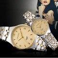 Chenxi loverly de plata parejas de cuarzo impermeable de los relojes de marca de lujo de acero inoxidable relojes de las mujeres de los hombres de moda casual