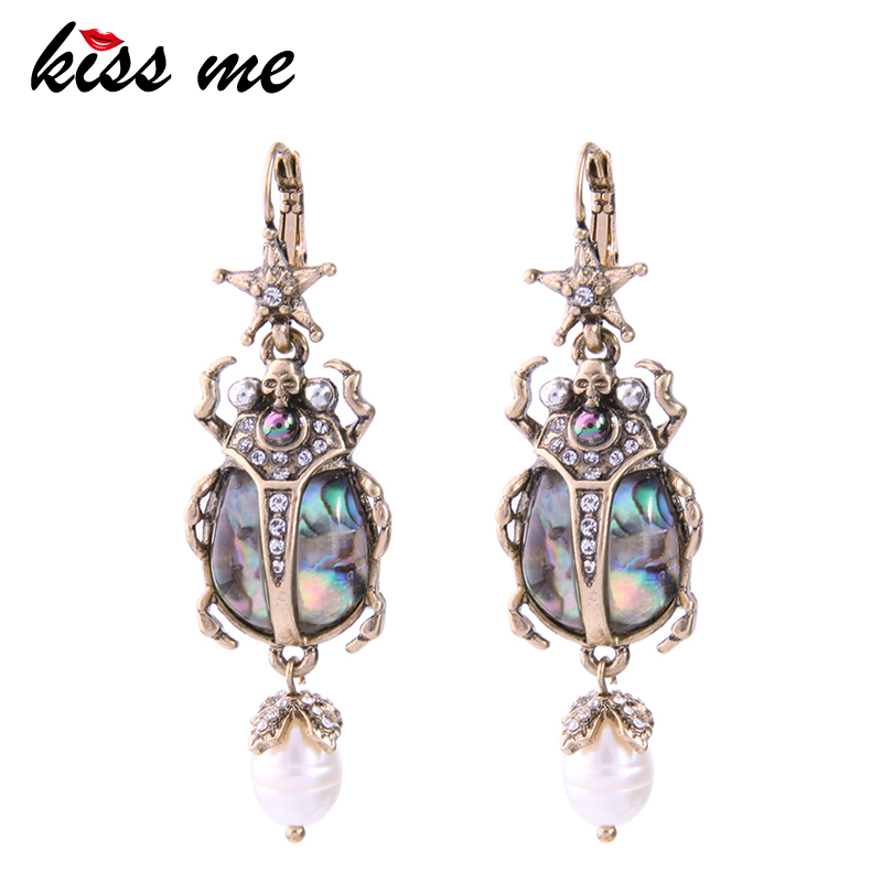 все цены на KISS ME Cultured Pearl Star Insect Earrings 2018 Personalized Cute Statement Earrings Fashion Women Jewelry Brinco Drop Earrings онлайн