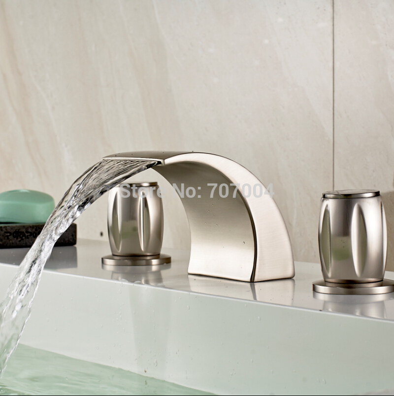 New Arrive Brushed Nickel Waterfall Basin Sink Mixer Tap Faucet Dual Handle Good Quality Bathroom Basin